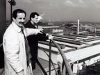 Adriano Fanzaga con un collega sulla torre dell'acqua.