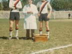 Alessandro Bruletti in campo al torneo di calcio aziendale.