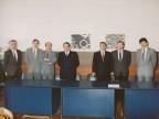Giorgio Lania con i colleghi durante un evento aziendale.
