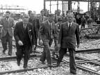 Giovanni Gronchi e l'Ing. Lovetti in visita allo stabilimento. Metà anni '50